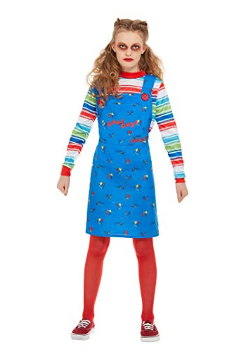 Smiffys 82006T Offizielles Lizenzprodukt Chucky Kostüm, blau, Teenager-Mädchen, ab 12 (Chucky Girl Kostüm)
