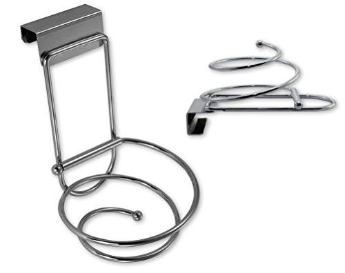 Haartrocknerhalter, ohne Bohren und Kleben montieren, zusammenklappbare Bad Halterung für Föhns, Föhnhalter einfach in Badezimmer- oder Schranktür einhängen
