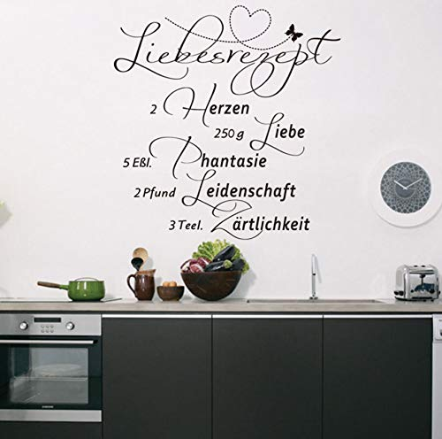 Finloveg Deutsch Liebe Rezept Zitate Kunst Vinyl Wandaufkleber Küche DekorationWohnkulturaufklebertapete 57X59 Cm