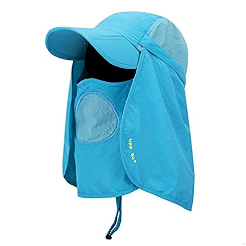 GADIEMKENSD Folding Fishing Hat 50 Fifty Hats 360 Sun Hat Face Cap Neck Protector Baseball Protection UPF 50+ Quick Dry UV Protection Mask Removable Legion Hat for Women Men Unisex Cap Hat Blue