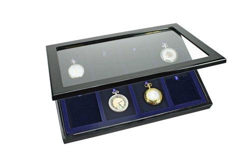 Set: Vitrine für Taschenuhren, Uhrenvitrine und 3 Ständer für die schönsten Taschenuhren