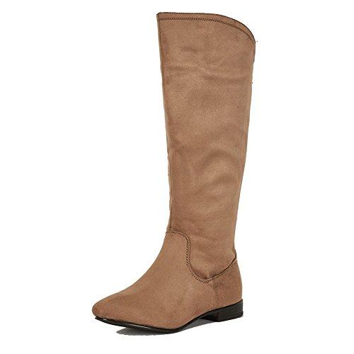 Spazzolato marrone Stivali altezza piatto superiore con inserto elastico per un montaggio più ampia