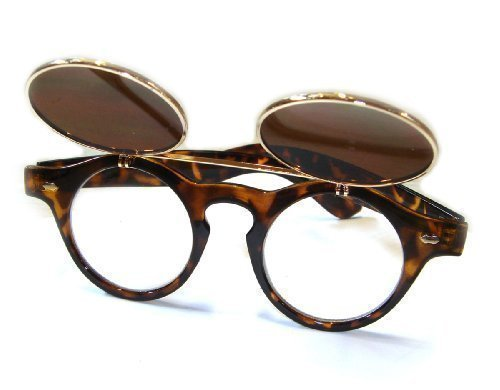 vintage-1950s-style-steampunk-round-flip-up-glasses-retro-tortoise-shell-effect-goggles-sunglasses-b