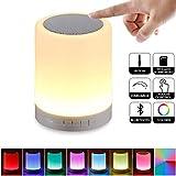 Nachtlicht Bluetooth-Lautsprecher, Touch Sensor Nachttischlampe, Dimmbare Farbwechsel Nachtlicht, Schreibtischlampe mit Mikrofon Unterstützung AUX, HD-Freisprechfunktion TF-Karte
