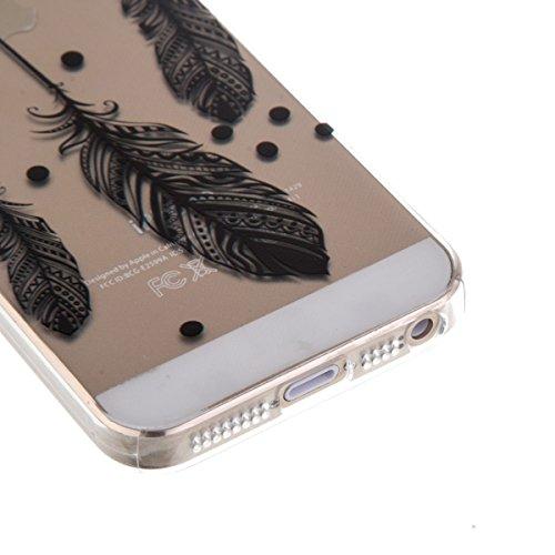 Ekakashop Transparent Hülle für Apple iPhone 5/5s, Modisch Durchsichtig Hüllen mit Schwarz Musik Muster Weiche TPU Soft Silikon Handyhülle Schutzhülle Rückseite Etui für iPhone 5s, Ultradünn Back Cove Schwarze Feather