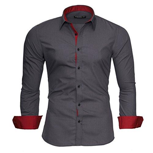 Merish Hemd Herren Langarmhemd Kontrast Business Casual Kontrastfarben 203 Dunkelgrau-Rot