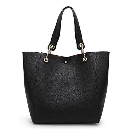 GSHGA Womens Beutel Big Bag Schulter Tragbare Diagonal Großpaket Einkaufstasche Mutter Und Kind Paket,Black