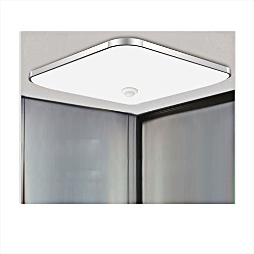 Led Deckenleuchte Deckenlampe Weiß Mit Bewegungsmelder,Menschlicher Körper Sensorleuchte mit 360° Bewegungssensor 5-8m Reichweite; Ideal für Fluren Treppenhäusern Garage Balkone L30*W30*H10CM 12W [A+]