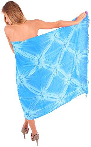 Tie-dye-türkis (LA LEELA weicher Viskose Hand tie dye wirbelt Sarong 70x43 Zoll türkis vertuschen)