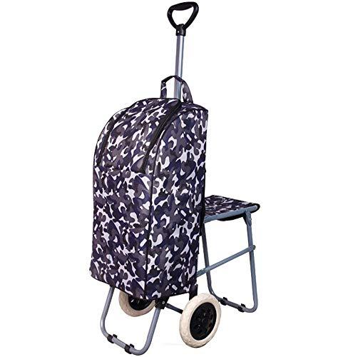 LJXiioo Leichte Roll-Shopping-Trolley-Tasche - Zusammenklappbarer Hochleistungsrollwagen, Dienstprogramm-Einkaufswagen,D