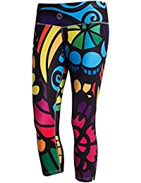 Nessi Damen 3/4 Leggings OSTK Laufhose Fitnesshose Atmungsaktiv Colored Mosaic3