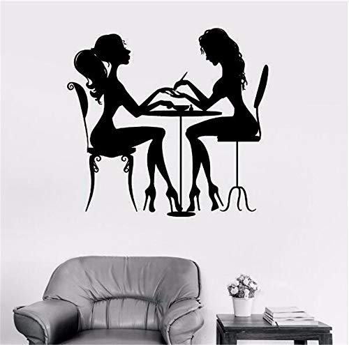 Juabc Moda Moderna Salone Di Bellezza Nail Art Wall Sticker Ragazza Vinile Fai Da Te Art Beauty Shop Casa Camera Da Letto Divano Parete Di Fondo 57X61Cm