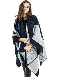 GYH Poncho Châle Femmes Oversized Stripes Echarpe Epaisse Cachemire Blanket Manteau  Cape Chaud Automne Hiver ee9b635cb66