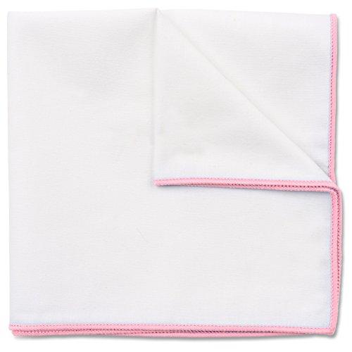 Puentes Denver Einstecktuch in reinem Weiß, Baumwolle von Hand genäht, Herren Taschentuch Einstecktücher (Rosa)
