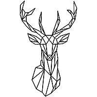 Bobury Géométrique géométrique cerf tête mur autocollant géométrie animal série 3D vinyle mur art décoration intérieure