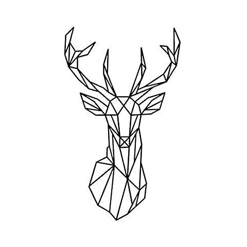 Bobury Géométrique géométrique cerf tête mur autocollant géométrie animal série