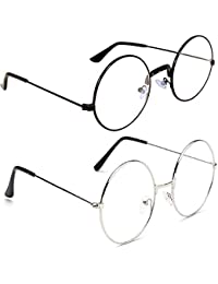 RoshFort Round Fully Metal ComboTransparent spectacle frame sunglasses for mens and womens [black and silver]