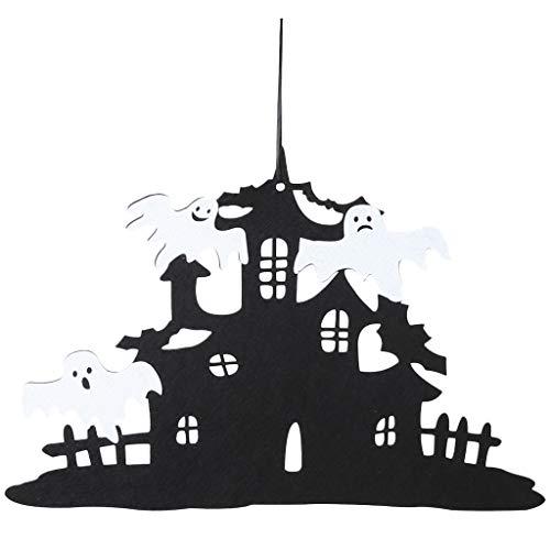 FLAMEER Türdeko Klapp Halloween Tür Anhänger Vlies Geisterkopf Spukhaus Form Wandbehang Home Office Party Dekoration - Spukhaus + Fee