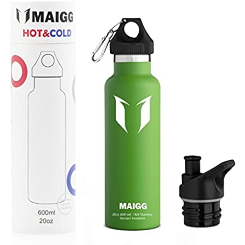Miglior Bottiglia di acqua di sport - 500nl & 1000ml - Eco Friendly & BPA-Free di plastica -Per la corsa, ginnastica, yoga, esterna e campeggi - Flusso d'acqua veloce, superiore di vibrazione, si apre con 1 - Click - Riutilizzabile con coperchio a tenuta stagna (Mela verde, 600ml-20oz)