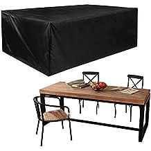 JTDEAL Fundas protectora impermeables para muebles de jardin, Lonas cubre sillas y mesas de exterior, 213*132*74CM, Negro