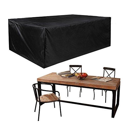 JTDEAL Fundas impermeables para mesa rectangular, Cubre mesa jardin negro,...