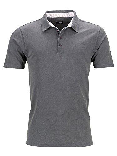 Herren Polo Shirt im Washed Look Poloshirt Hemd Pique Qualität graphite/white-red