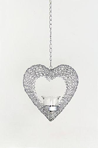 Goldbach Metall Chrom Plattiert mesh Herz mit Teelicht, 19x 6,5x 60cm, silber (Herz Fransen)