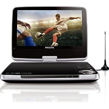 Philips PD9005 Tragbarer DVD-Player (22.8 cm (9 zoll)  LC-Display, DivX-zertifiziert, DVB-T Tuner) schwarz/silber