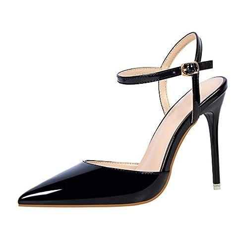 Oaleen Escarpins Femme Sexy Vernis Bride Cheville Talons Haut Aiguille Chaussures Soirée Noir 37