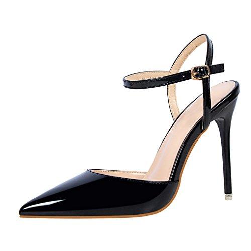 8597aaf5201f Oaleen Escarpins Femme Sexy Vernis Bride Cheville Talons Haut Aiguille  Chaussures Soirée