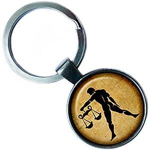 Zodiac Libra Tierkreis Waage Silver Keychain Silber Schlüsselanhänger