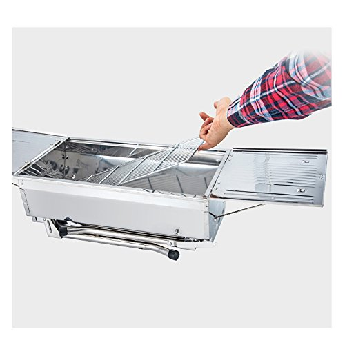 Portable Barbecue Grill Edelstahlkohle Raucher Broil BBQ Pit Grill Für Ourdoor Camping Picknicks, Silber, 96 * 33 * 38 Cm