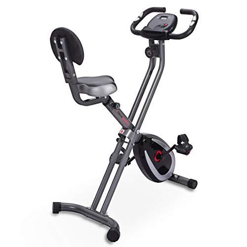 Ultrasport F-Bike 300B Bicicleta estática Plegable, Ordenador y App, con Respaldo & App, Unisex, Negro Mate