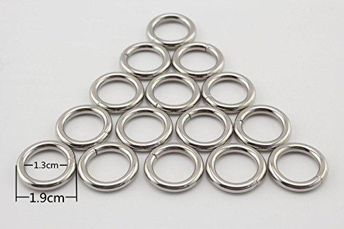 3verschiedene Größe mit O-Ringe o-ring Riemen Schnalle für Taschen, Gürtel, Geldbörse, Tasche, Tasche mit, Nickel, Gold, Gold-Braun, Grau, Blau, 10Stück pro Stück 1/2 inch/13mm Nickel-B