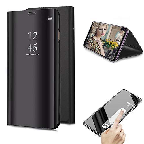 Cestor Überzug Mirror Leder Handyhülle für Samsung Galaxy S9 Plus, Schwarz Kristall Spiegel Flip Handytasche Ultra Dünn Galvanisieren Harte PC Schutzhülle für Samsung Galaxy S9 Plus