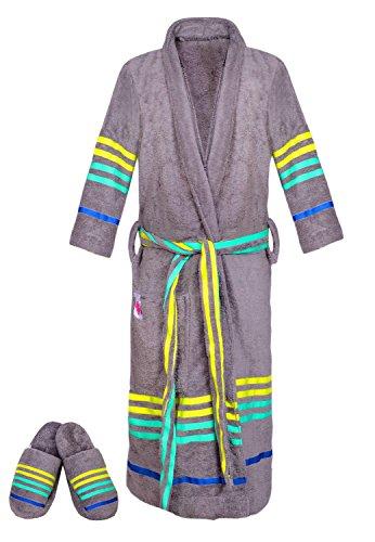 Preisvergleich Produktbild Casa Copenhagen Exotic Terry Baumwolle Unisex Bademantel & Slipper-Set, Stahl Grau