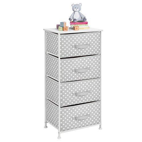 mDesign Cómoda de tela con 4 cajones – Práctico mueble auxiliar de almacenaje para las habitaciones infantiles, los dormitorios, etc. – Preciosa cajonera con cajones de tela – gris/blanco