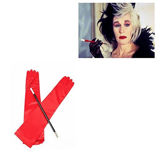Cruella DeVille 1920er Kostüm, Lange schwarze Handschuhe und Zigaretten-Halter (Cruella Deville Kostüme)