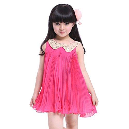 Mädchenkleid Festzug Kleider (5-6 Jahre, red) (Santa Dress Up)