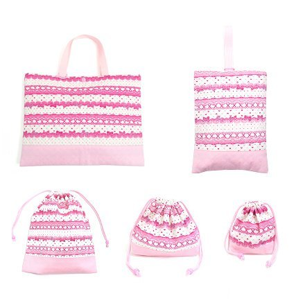 In the race pattern set of 5 lessons bag Q enrolled enhancement, shoes case Q, gym clothes bag, lunch bag, cups and ribbon bag Pretty cute (white) made in Japan N8122800 (japan import)
