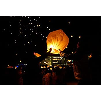 Crazy Sutra 3-Piece Make A Wish High Flying Sky Lantern with Fuel Wax Candle, Multicolour