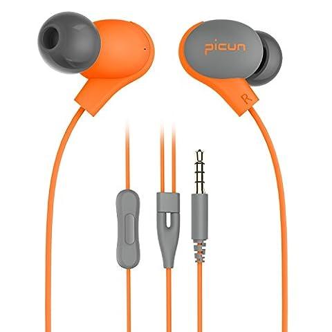 Picun S2 Ohrhörer In-Ohr Kopfhörer mit weichen Ohrpolstern, Mikrofon, Fernbedinung, Präzisem Klang für IOS-, Android-Geräte, PC, Tablets, MP3/MP4 Players(Orange)