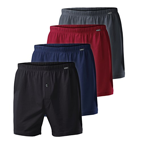 4er Pack Herren Single Jersey Boxershorts Exclusive 4farb-Mix (Schwarz, Anthrazit, Deep Red, Deep Navy)-8 (Jersey Classic Shorts)