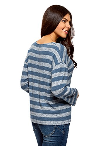 oodji Ultra Damen Lässiger Pullover mit V-Ausschnitt Türkis (7612S)