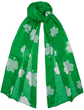 Irish Green with White Clovers St. Patricks Small Scarf