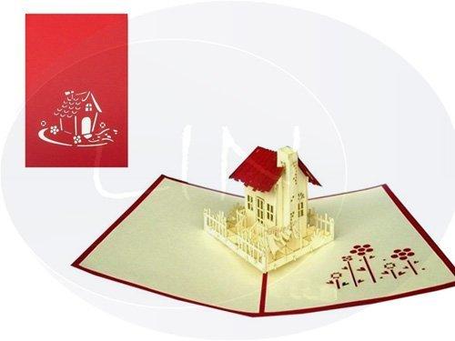 LIN-POP UP Karten Umzug Einzug, 3D Karten Grußkarten  Glückwunschkarten Umzug Einzugskarten Haus - Haus Pop