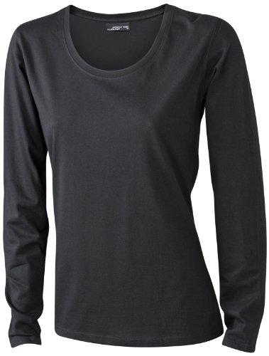100 Baumwolle Damen T-shirt (James & Nicholson Damen T-Shirt Langarmshirt Large black)