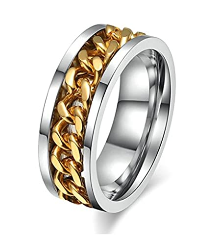 KnSam Men Stainless Steel Wedding Bands Curb Chain Comfort Fit Silver Gold Size Y 1/2 [Novelty Ring]