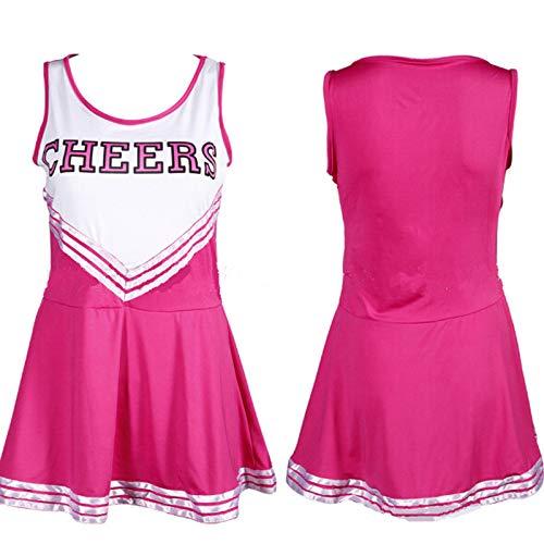 Yamyannie Cheerleader Halloween Kostüm Outfit Uniform High School Sport Musical Kostüm mit Pom Poms (Farbe : Fuchsia, Größe : M)