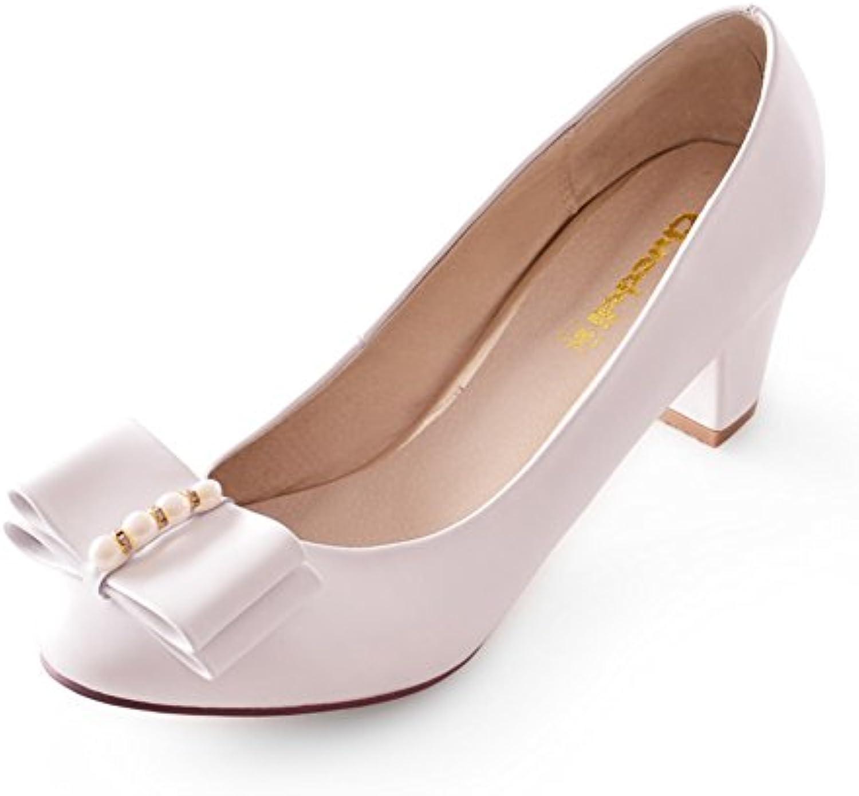 Viento dulce arco perla gruesos tacones de zapatos